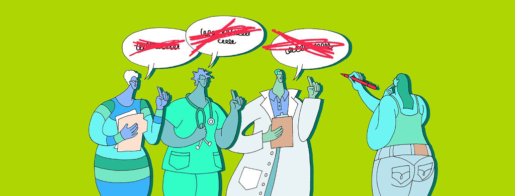 three doctors give their opinions to their patient, who has a red marker and is crossing out their diagnosis